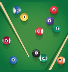 billiard stick and pool balls on green billiard vector image