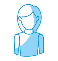 Blue silhouette with half body of faceless woman vector
