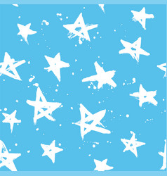 blue stars pattern hand drawn vector image