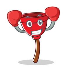 Boxing plunger character cartoon style vector