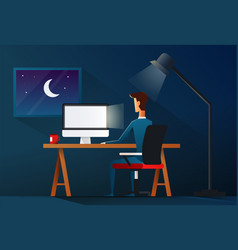 Business man working late night workload concept vector