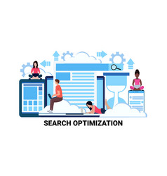 business people using gadget seo search vector image