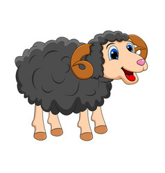 Cartoon black ram design isolated on white vector