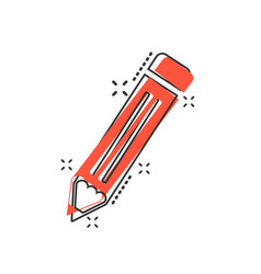 cartoon pencil icon in comic style pen sign vector image