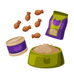 Cat food set pet animal dried canned food vector