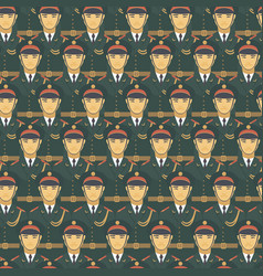 Chinese soldiers army officers seamless pattern vector