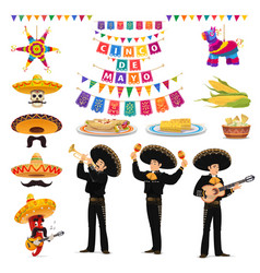 Cinco de mayo food musician sombrero and pinata vector