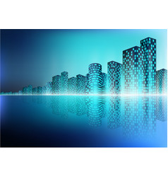 city landscape with reflection vector image