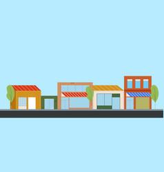 city street cartoon business building skyline vector image