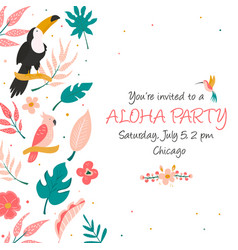 cocktail invitation with flowers birds and leaves vector image