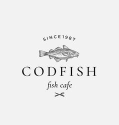 codfish abstract sign symbol or logo vector image