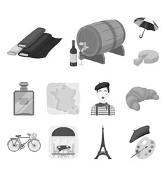 Country france monochrome icons in set collection vector