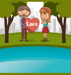 couple lovers in the lake vector image