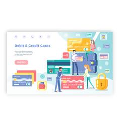 Credit and debit cards people in bank website vector
