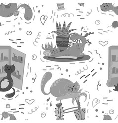 Cute seamless pattern with house plants cats vector
