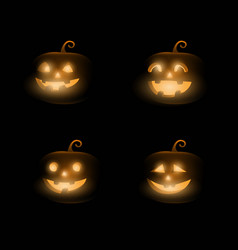 Dark cute halloween pumpkins isolated on black vector