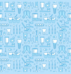Dentist orthodontics blue seamless pattern with vector