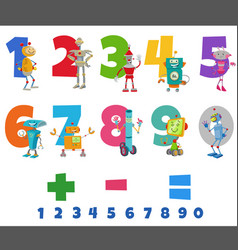 educational numbers set with funny robots vector image