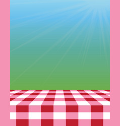 Empty picnic tablecloth outside vector