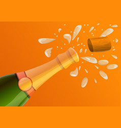 explosion champagne bottle concept banner cartoon vector image