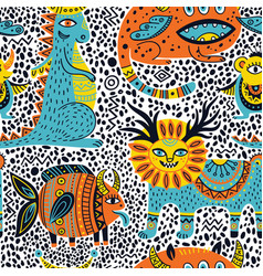 Fantastic animals seamless pattern vector