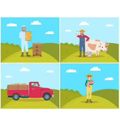 Farmer with milk products set vector