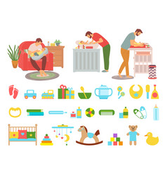 Father caring for kid washing changing diapers vector