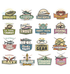 Fishery icons fishing sport items and fish vector