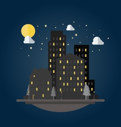 Flat design of cityscape at night vector