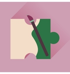 Flat icon with long shadow puzzle brush vector