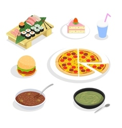Food isometric icons Hamburgers and sushi cake vector image