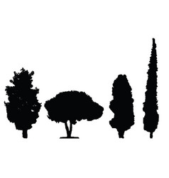 four black silhouette trees set vector image