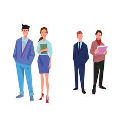 Four office workers employees managers vector