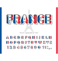 France cartoon font french national flag colors vector