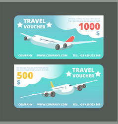 Gift travel voucher travelling promo card ticket vector