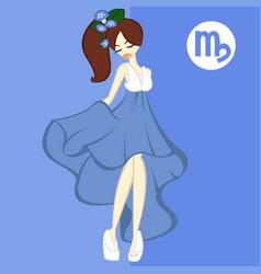 Girl in theme flowers for zodiac virgo vector