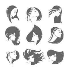 Girls portrait - silhouette icon vector image
