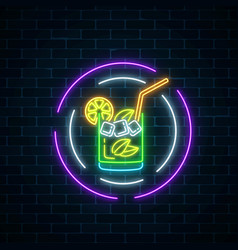 Glow neon symbol of cocktails bar in round frames vector