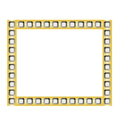 Golden frame with diamonds vector