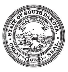 great seal state south dakota 1889 vector image