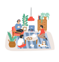Group of people or friends sitting in comfy vector