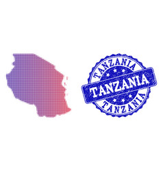 Halftone gradient map of tanzania and scratched vector