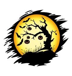 halloween tree with pumpkins vector image