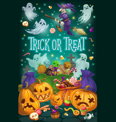 Halloween witch ghosts and pumpkins with candies vector