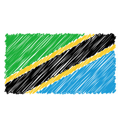 hand drawn national flag of tanzania isolated on a vector image