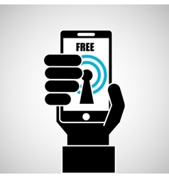 Hand holding smartphone internet wifi free icon vector