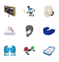 Hockey game icons set cartoon style vector image