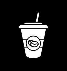 Ice latte dark mode glyph icon vector