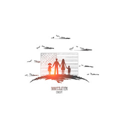 Immigration concept hand drawn isolated vector