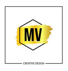 Initial mv letter logo template design vector